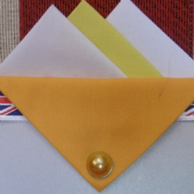 White and Yellow Hankie With Yellow Flap and Pin